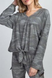 Olivia Graye Camo V-neck Top with Tie Bottom - Front cropped