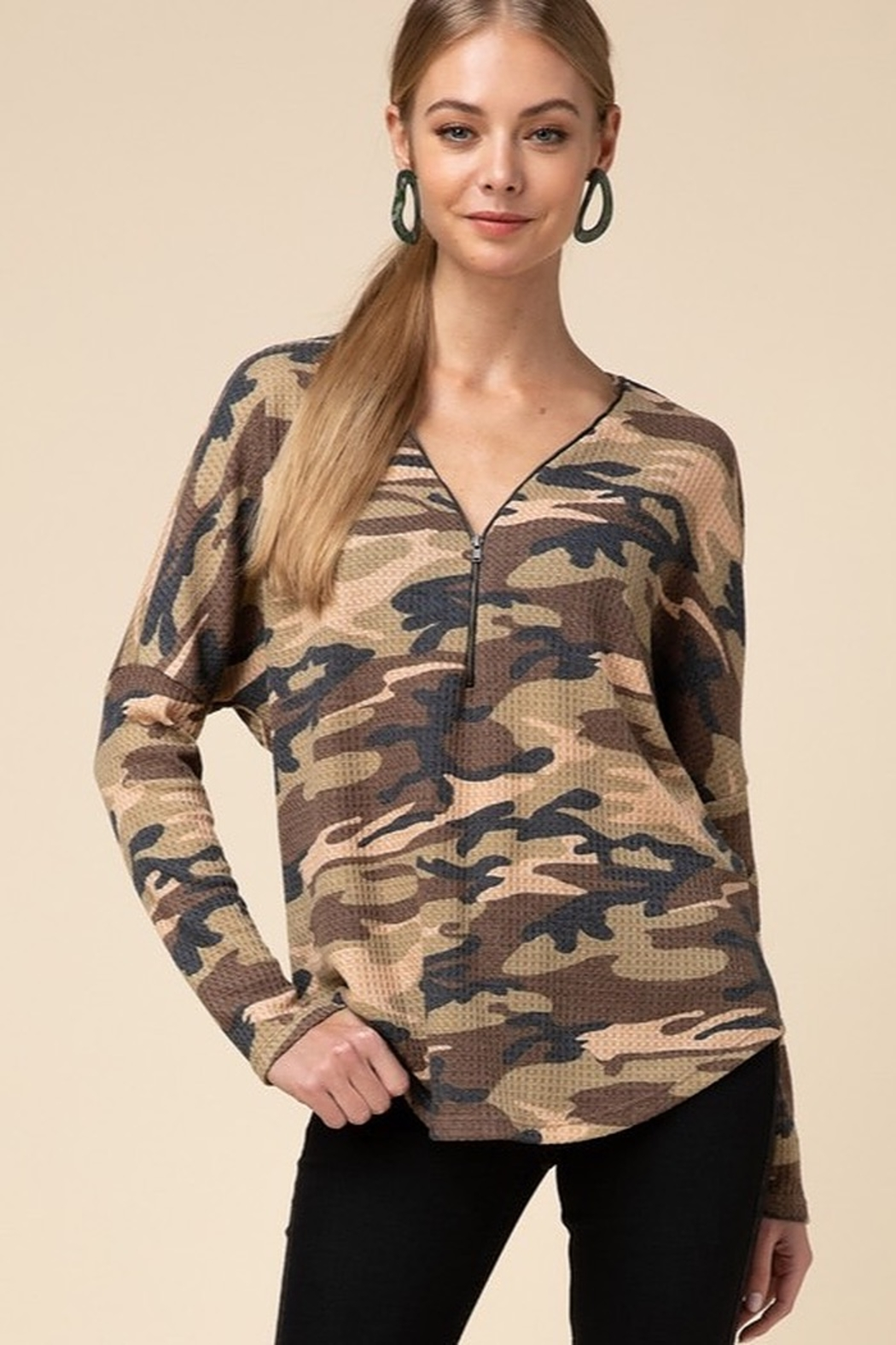 Entro  Camo V Neck Zipper Top - Main Image