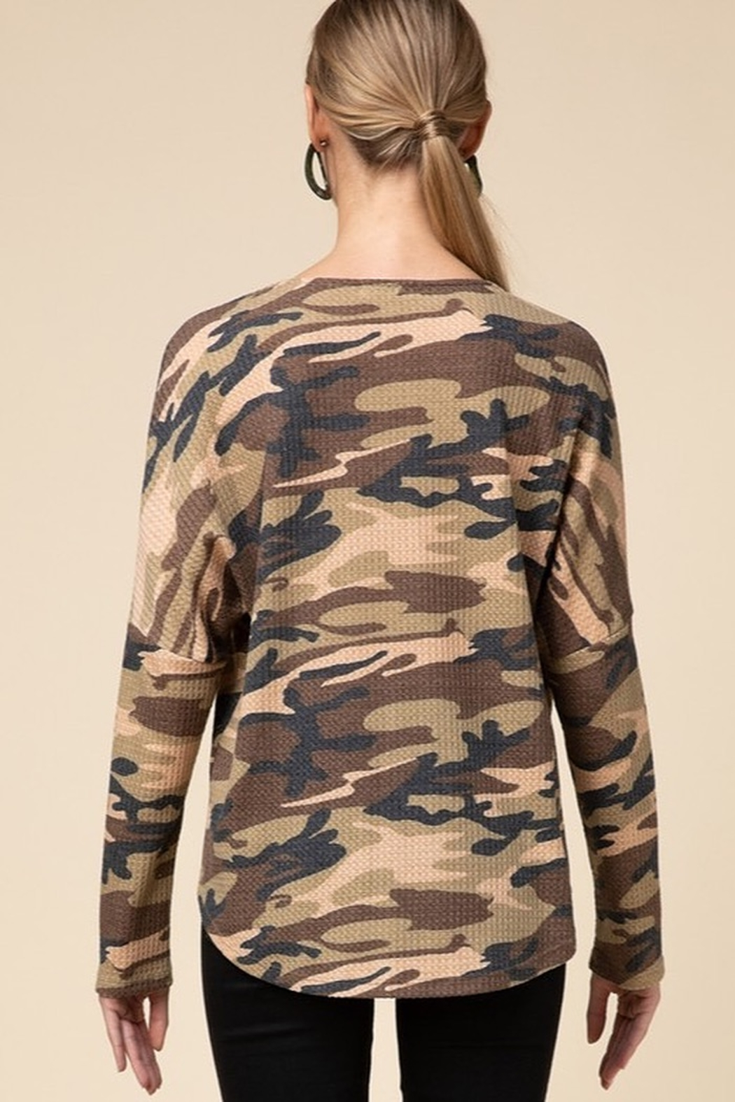 Entro  Camo V Neck Zipper Top - Side Cropped Image