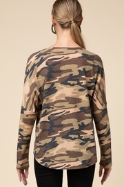 Entro  Camo V Neck Zipper Top - Side cropped