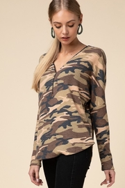 Entro  Camo V Neck Zipper Top - Front full body