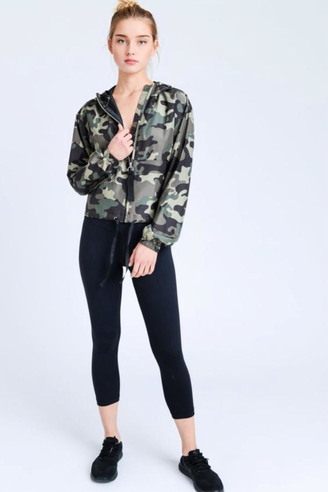 Love Tree Camo Windbreaker Jacket - Side Cropped Image