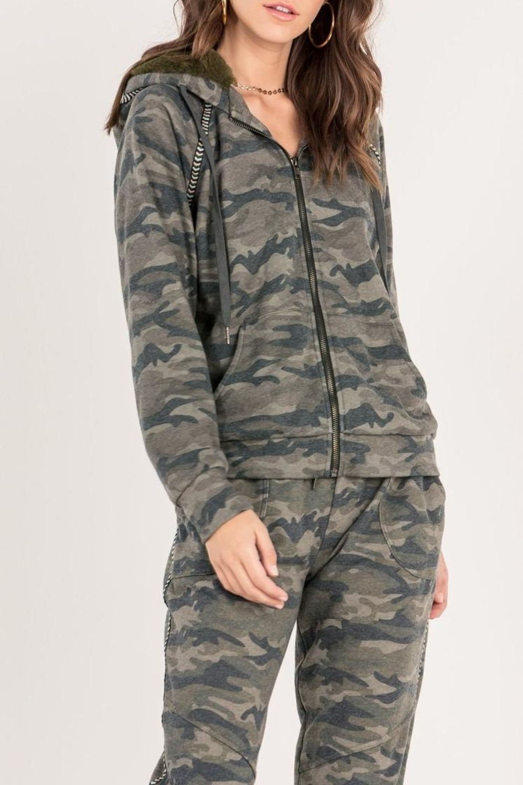 Miss Me Camo Zip Hoodie - Front Cropped Image