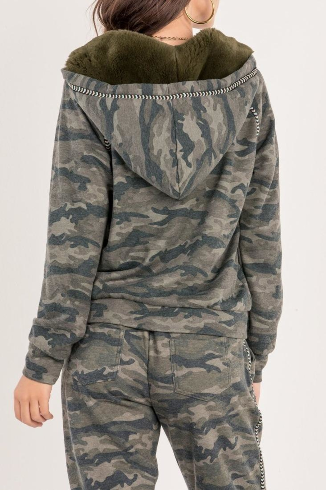 Miss Me Camo Zip Hoodie - Side Cropped Image