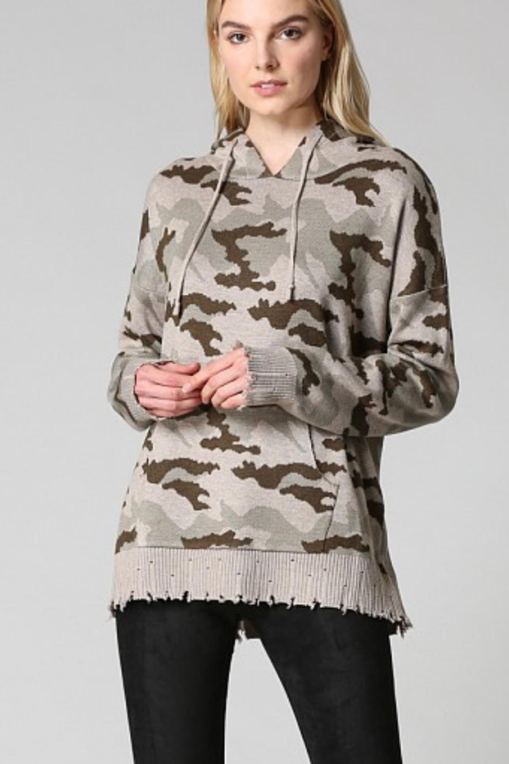 Fate Camoflauge Patterned Hooded Sweater - Main Image