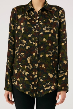 Nicole Miller Camouflage Boyfriend Shirt - Alternate List Image