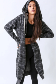 Electric Rose Camouflage Duster Hoodie - Back cropped