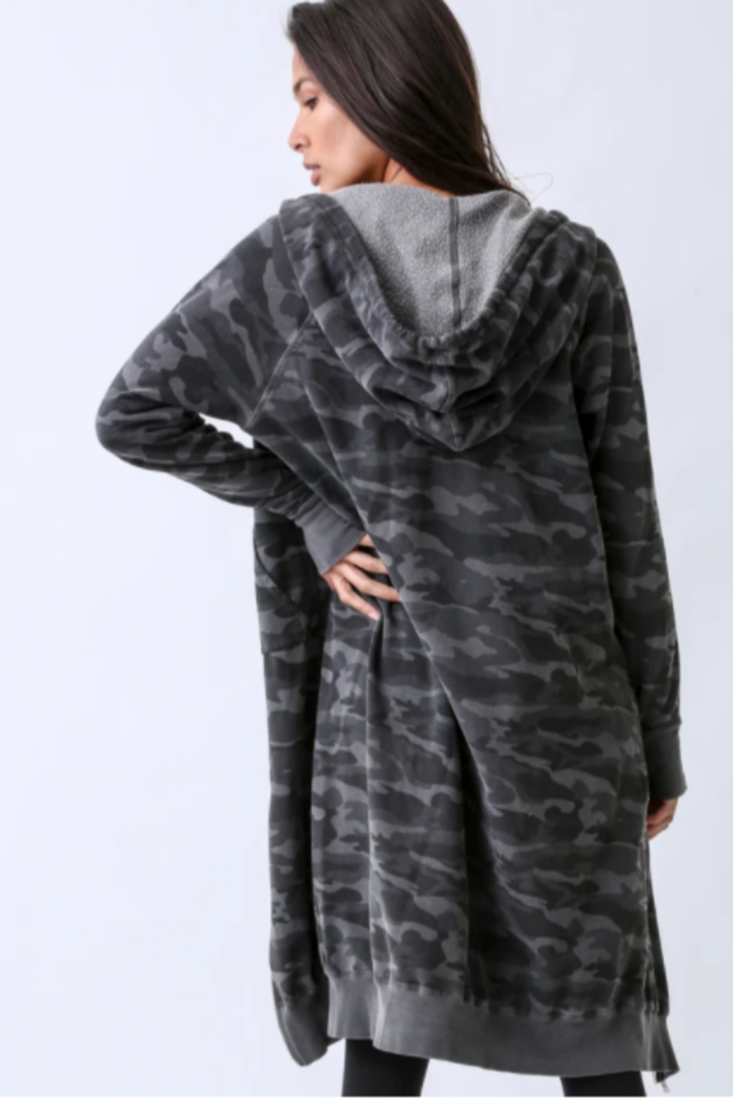 Electric Rose Camouflage Duster Hoodie - Front Full Image