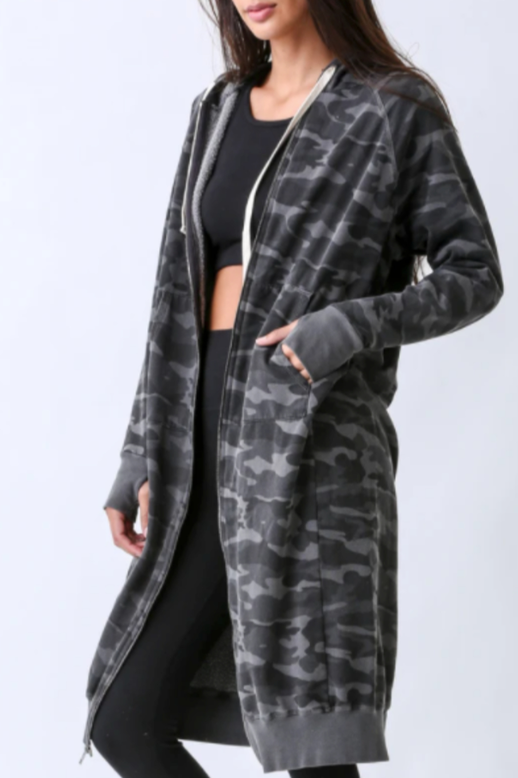 Electric Rose Camouflage Duster Hoodie - Main Image