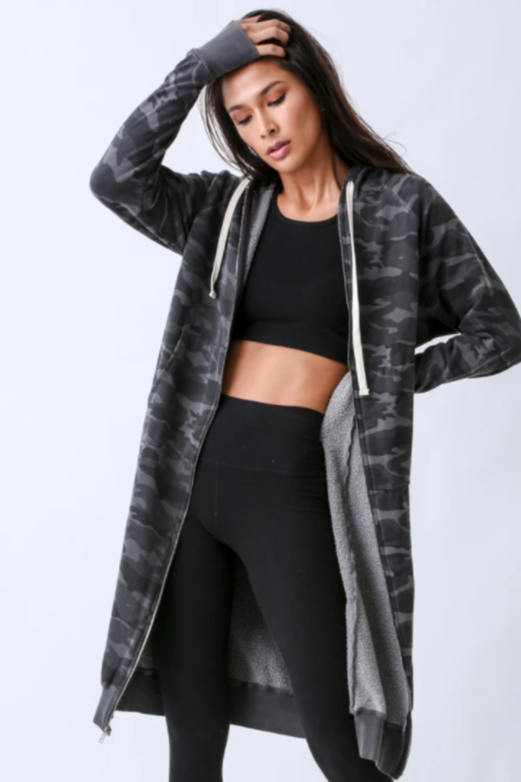 Electric Rose Camouflage Duster Hoodie - Side Cropped Image