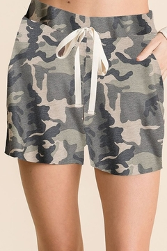 Shoptiques Product: Camouflage French Terry Shorts with Drawstring