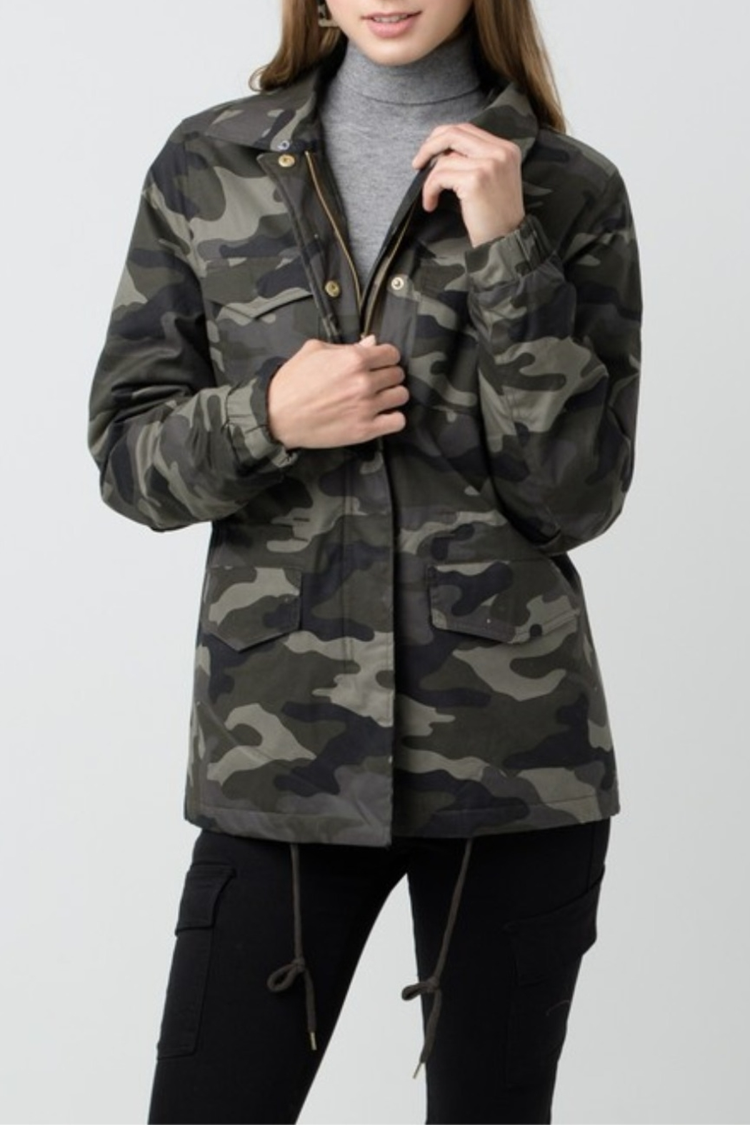 Love Tree  Camouflage Jacket with Detachable Fur - Front Full Image