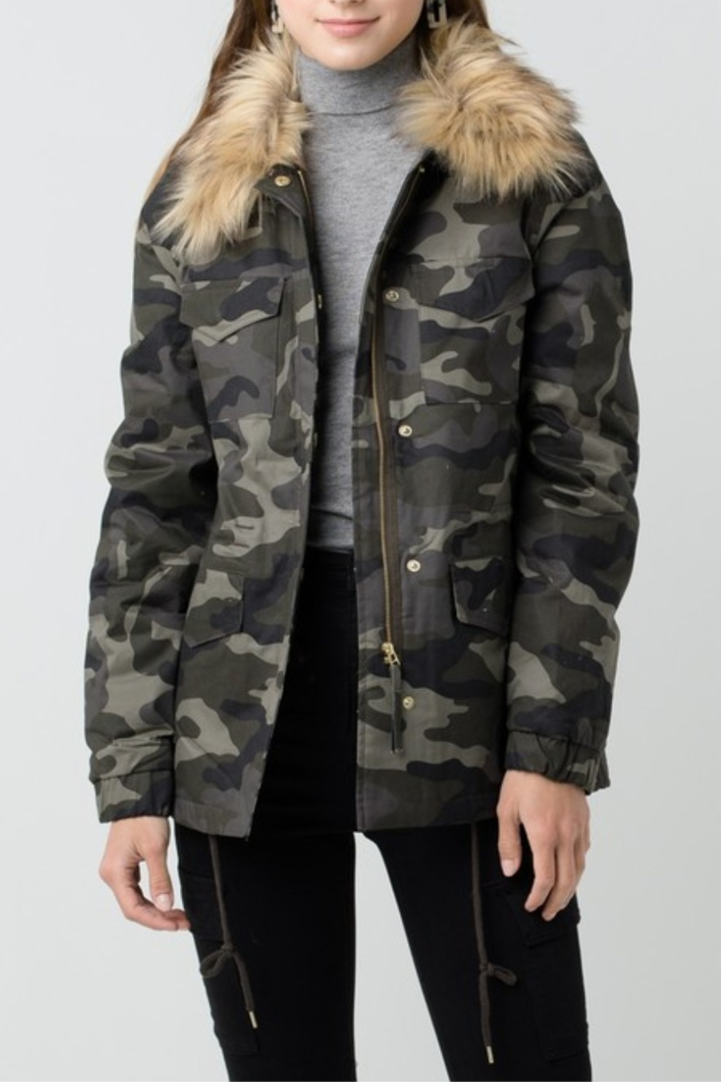 Love Tree  Camouflage Jacket with Detachable Fur - Main Image