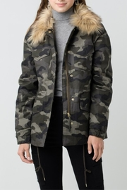 Love Tree  Camouflage Jacket with Detachable Fur - Front cropped