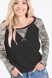 Bibi Camouflage Jersey Knit Sleeve Top - Product Mini Image