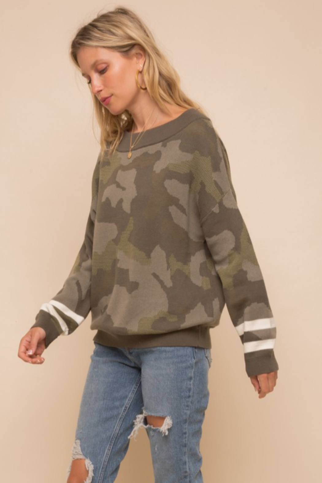 Hem and Thread Camouflage Loose Fit Dolman Sweater - Side Cropped Image