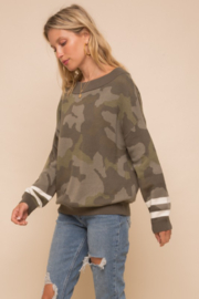 Hem and Thread Camouflage Loose Fit Dolman Sweater - Side cropped