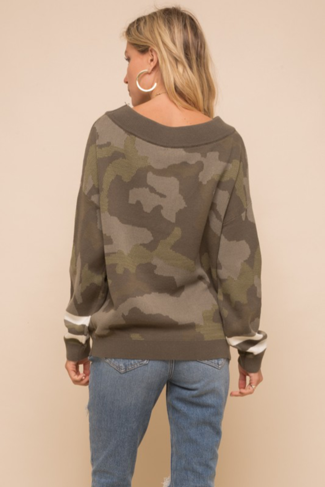 Hem and Thread Camouflage Loose Fit Dolman Sweater - Front Full Image