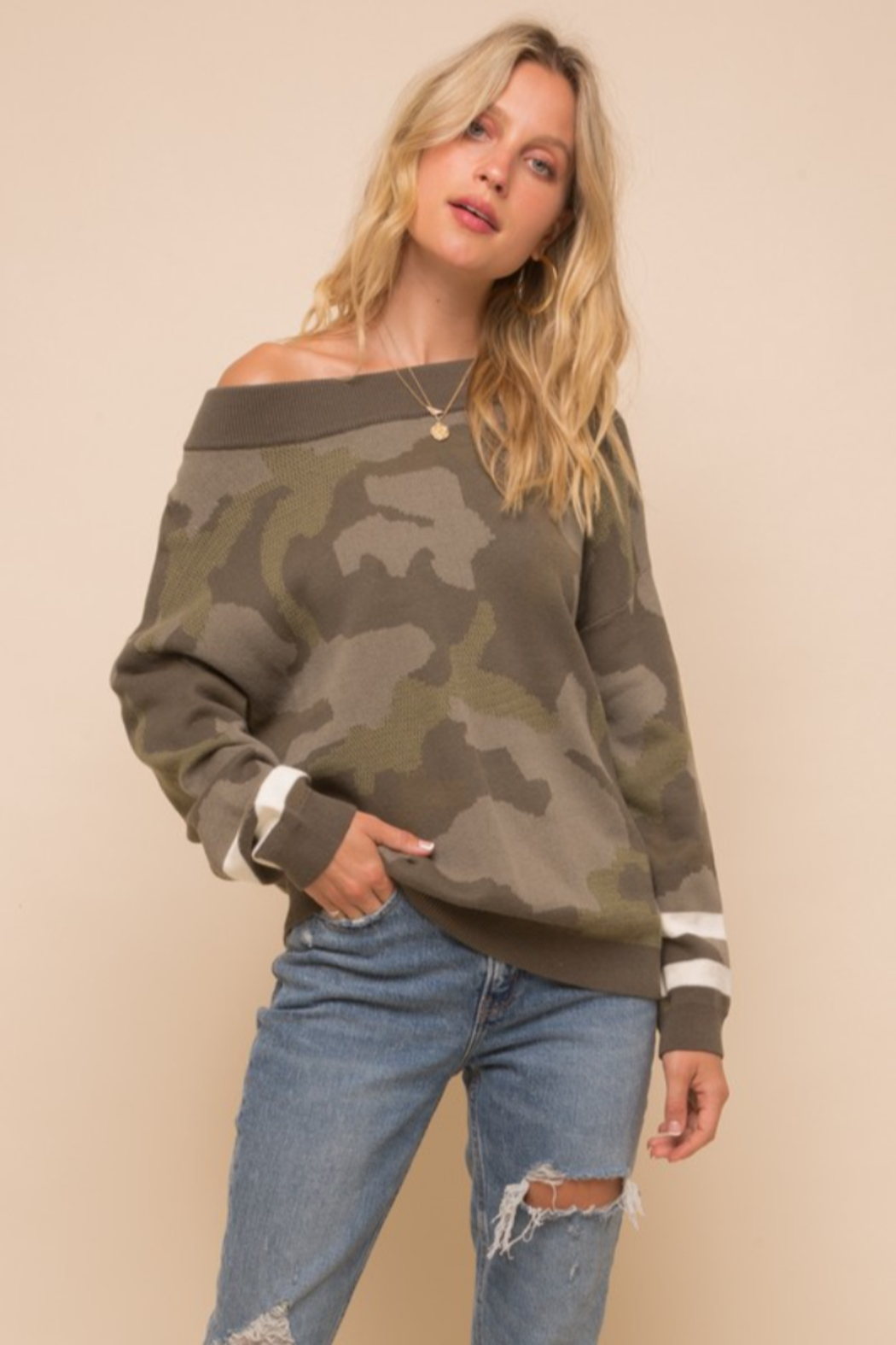 Hem and Thread Camouflage Loose Fit Dolman Sweater - Main Image