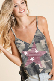 Bibi Camouflage Print Top with Star Patch - Product Mini Image