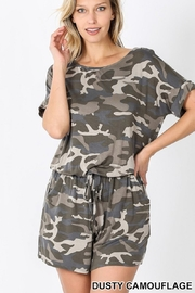 Zenana CAMOUFLAGE SHORT SLEEVE ROMPER WITH POCKET - Product Mini Image