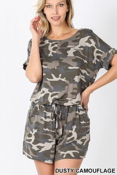 Shoptiques Product: CAMOUFLAGE SHORT SLEEVE ROMPER WITH POCKET