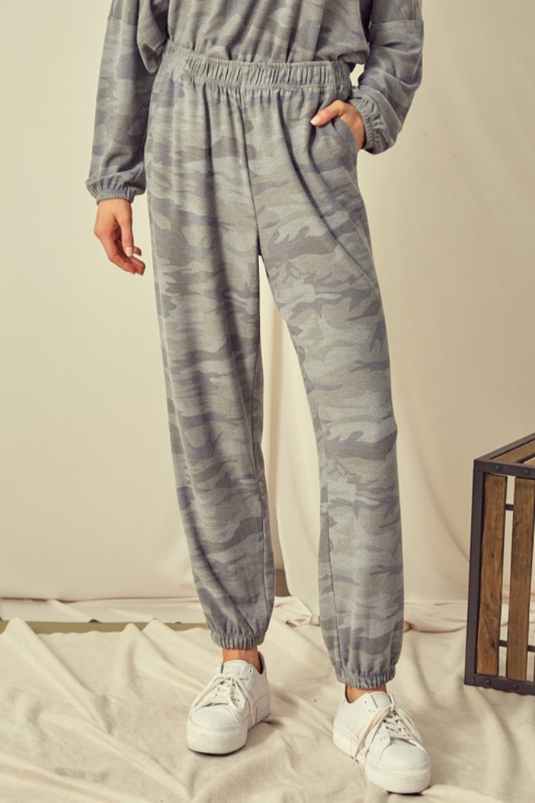 Mustard Seed  Camouflage Sweatpant Jogger - Front Cropped Image