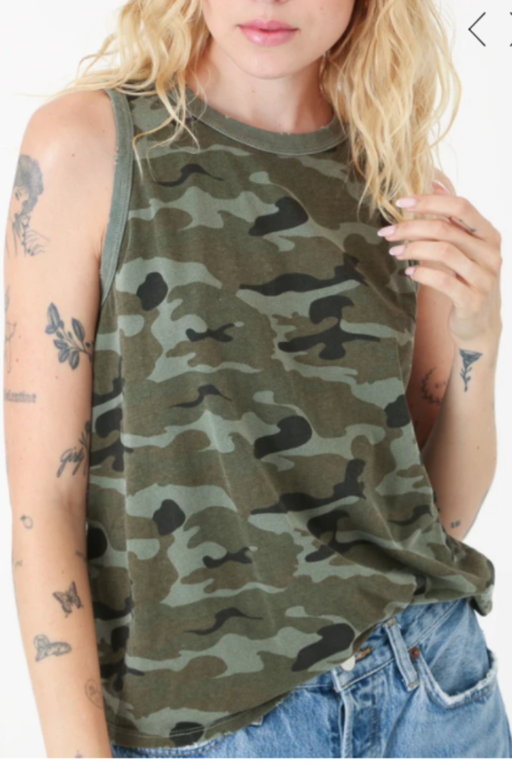 Electric & Rose Camouflage Tank - Back Cropped Image
