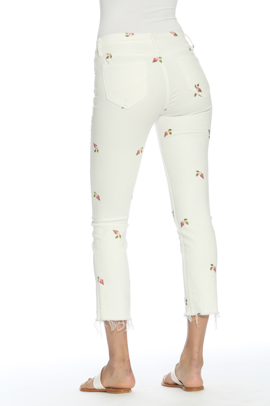 Driftwood Candace Crop White Jeans w Rosebuds - Side Cropped Image
