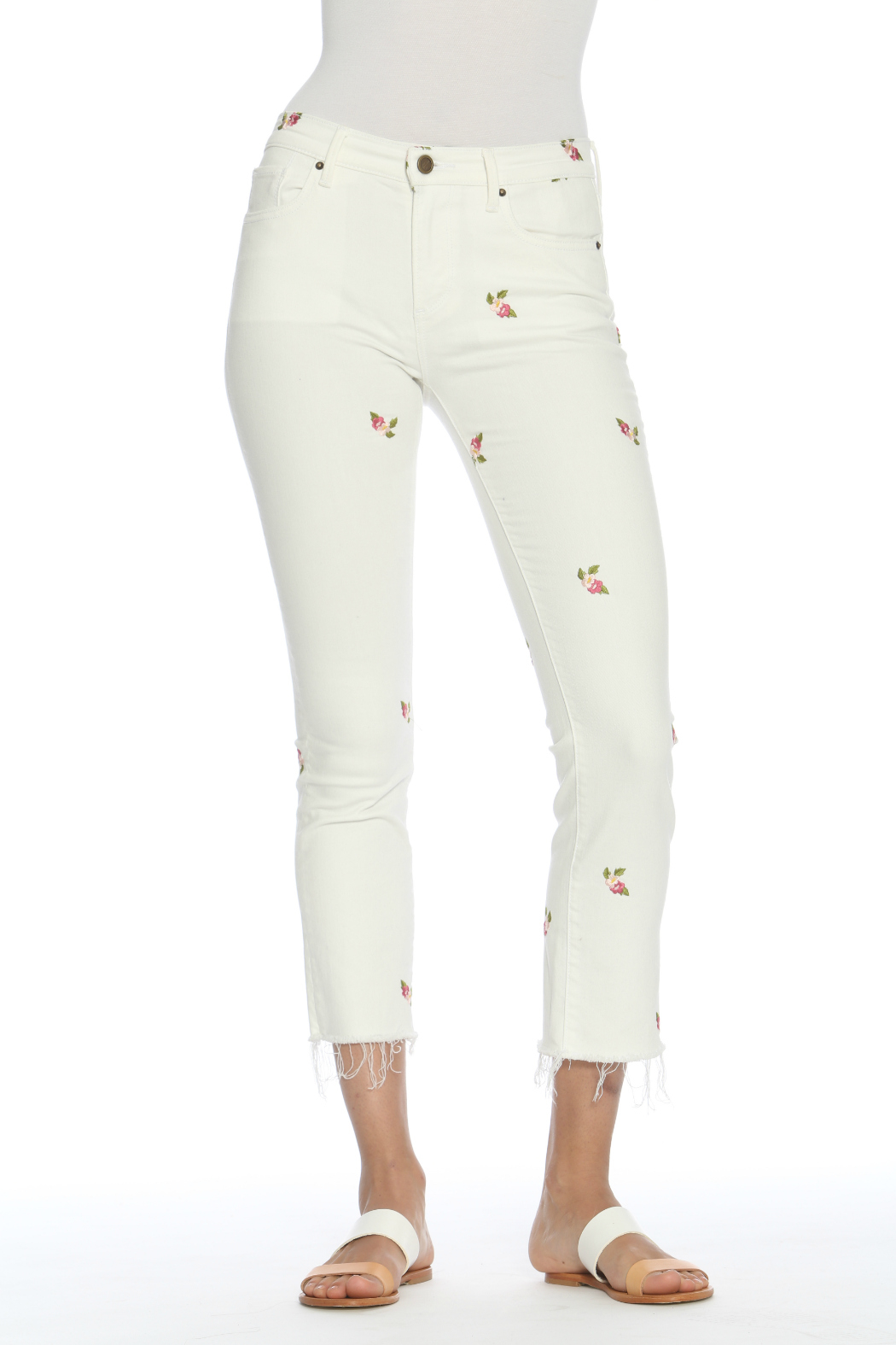 Driftwood Candace Crop White Jeans w Rosebuds - Main Image