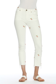 Driftwood Candace Crop White Jeans w Rosebuds - Product Mini Image