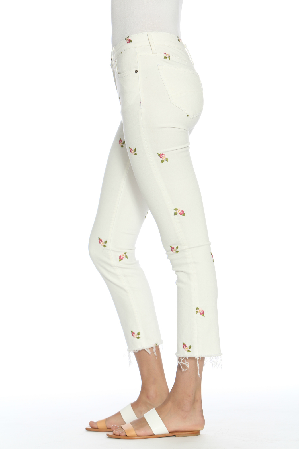 Driftwood Candace Crop White Jeans w Rosebuds - Front Full Image
