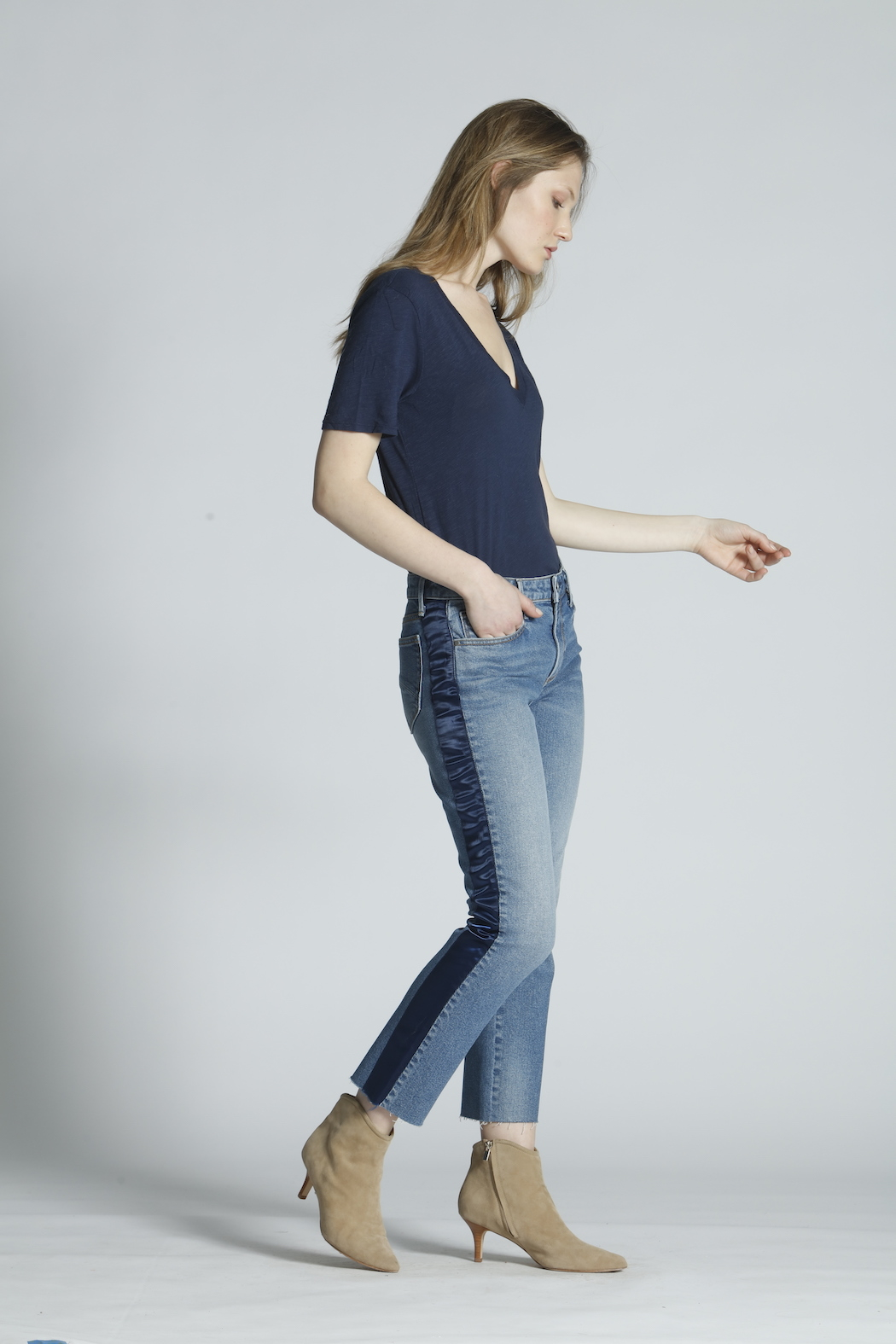 Driftwood Candace Satin Stripe Jeans - Main Image
