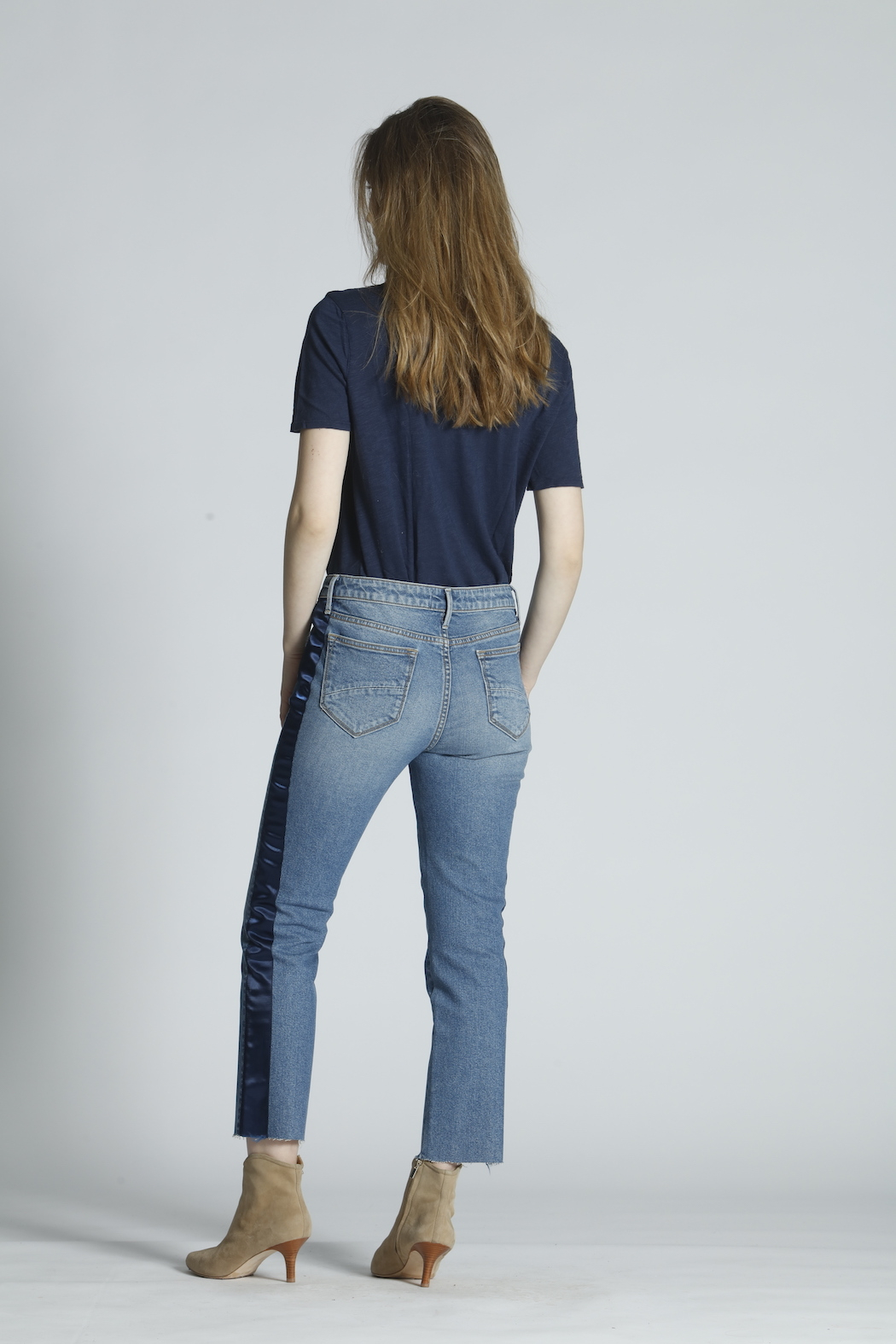 Driftwood Candace Satin Stripe Jeans - Side Cropped Image