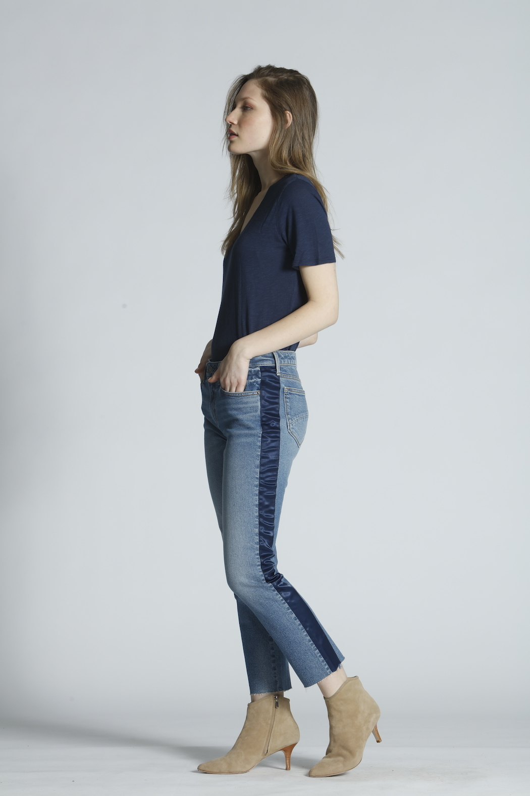 Driftwood Candace Satin Stripe Jeans - Front Full Image