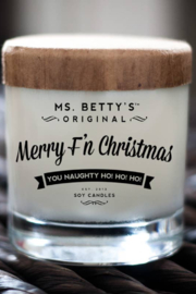 Ms. Betty's Original  Candle MerryF'n Christmas You Naughty HO HO HO 75 hrs. - Front cropped