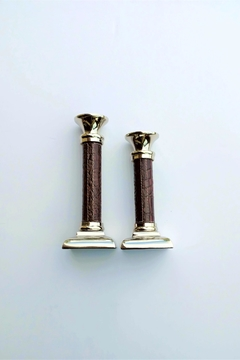 K&K Interiors Candlestick Leather Trim - Product List Image