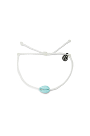 Puravida Candy Blue Cowrie Bracelet-White - Front cropped