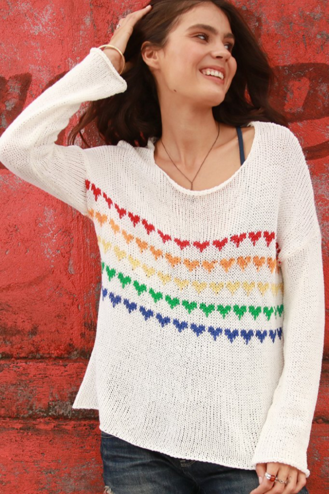 Wooden Ships Candy Hearts V-Neck Sweater - Front Full Image