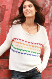 Wooden Ships Candy Hearts V-Neck Sweater - Front cropped