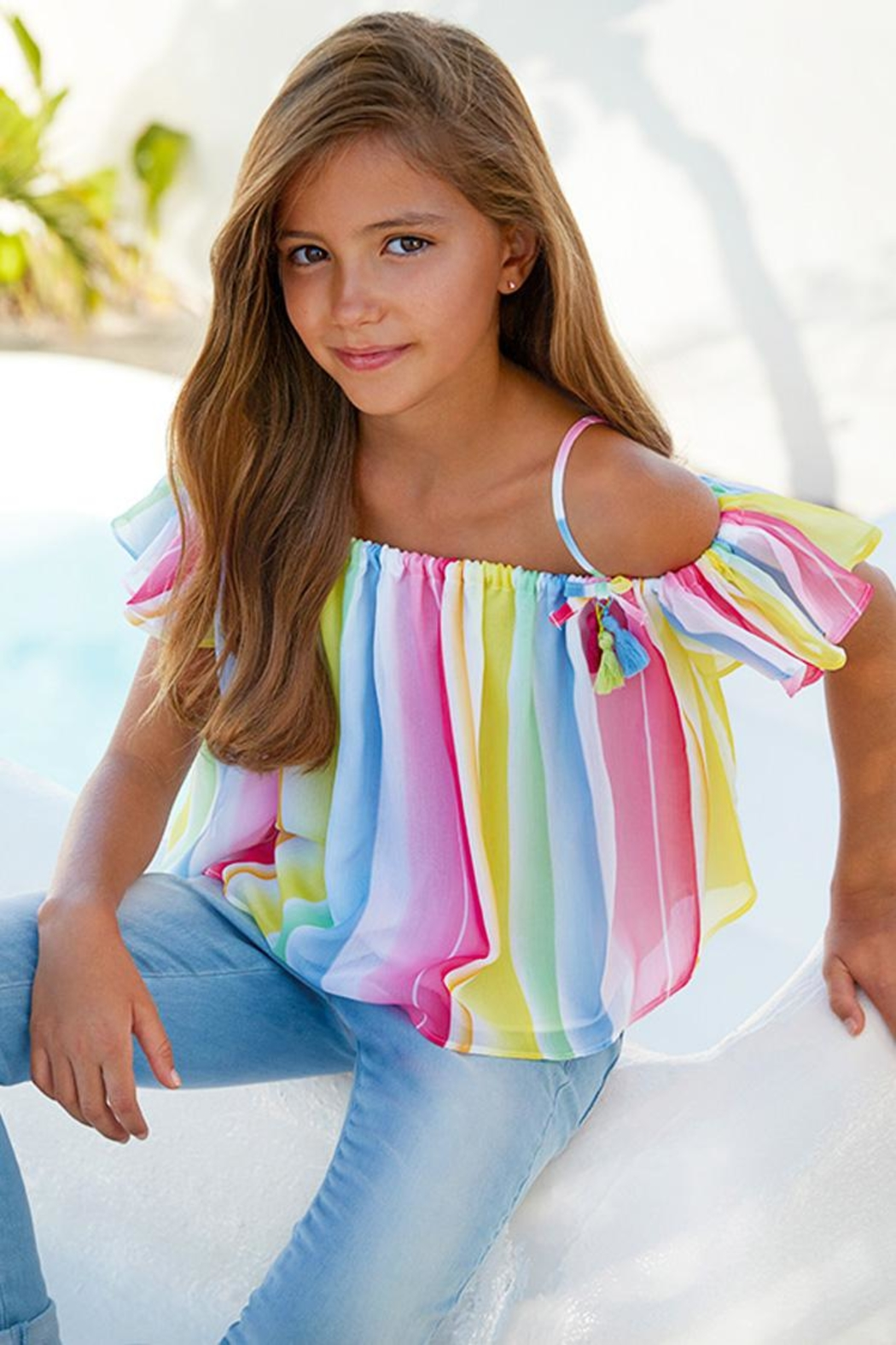 Mayoral Candy-Stripe Chiffon Blouse - Front Cropped Image
