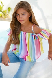 Mayoral Candy-Stripe Chiffon Blouse - Front cropped