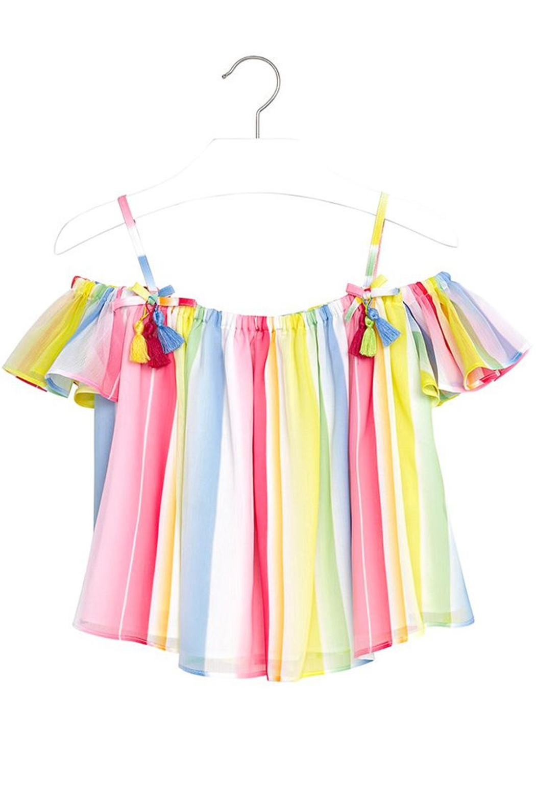 Mayoral Candy-Stripe Chiffon Blouse - Front Full Image