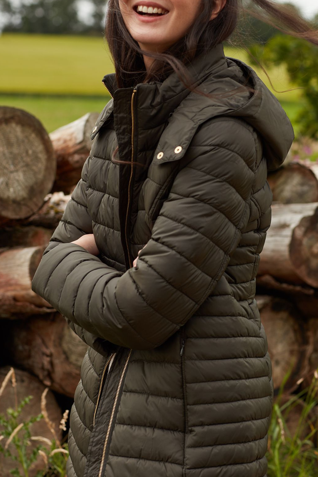 Joules Canterbury Long Luxe Padded Jacket - Front Cropped Image
