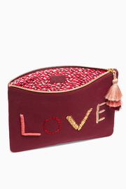 S & D Canvas Clutch Embroidered Beaded LOVE - Product Mini Image