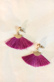 Canvas Fuschia Fan Earrings - Product Mini Image