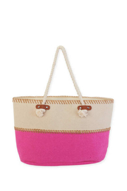Sun n Sand Canvas Shoulder Tote - Front cropped