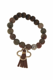 Canvas Tassel Gemstone Bracelet - Side cropped