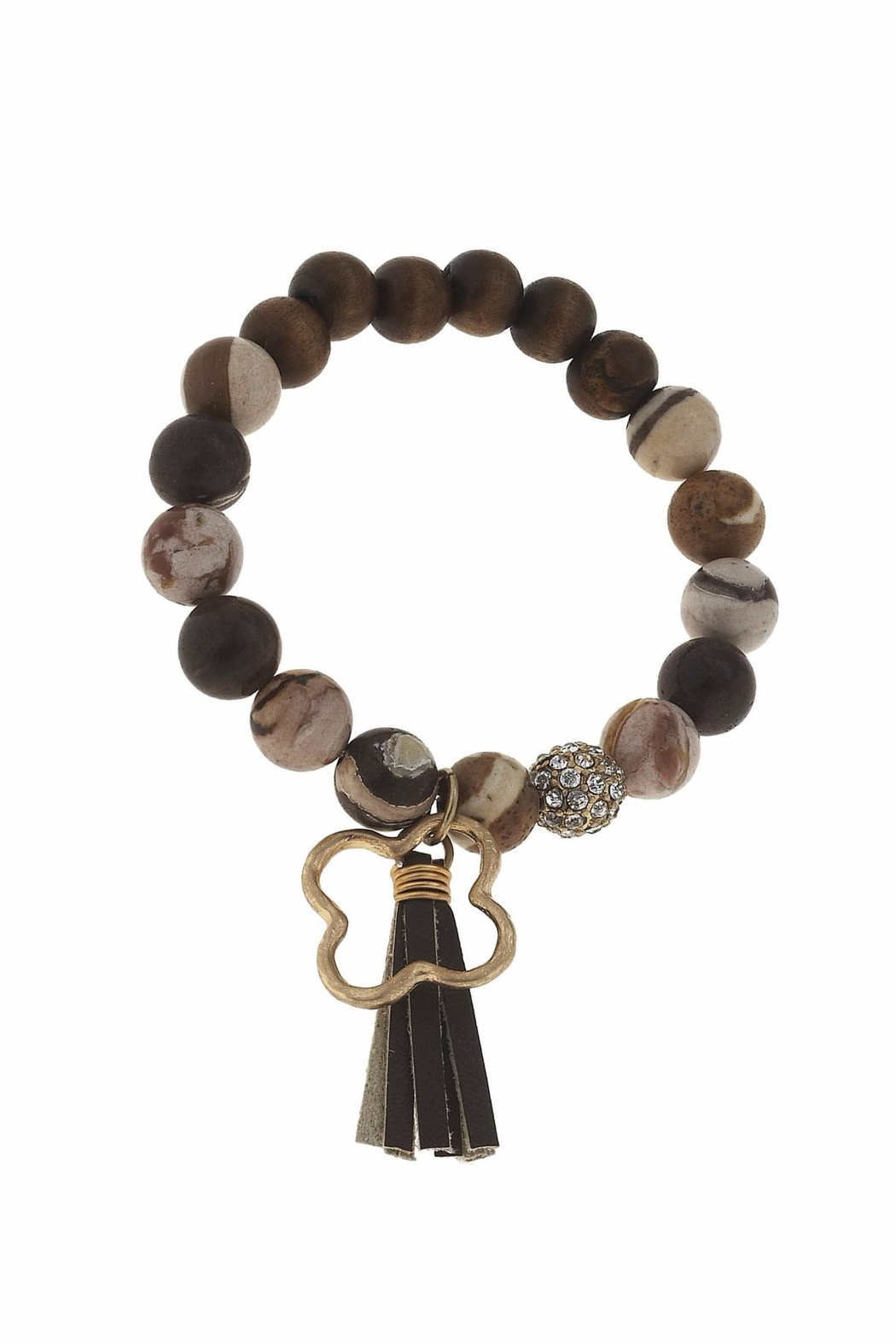Canvas Tassel Gemstone Bracelet - Front Cropped Image