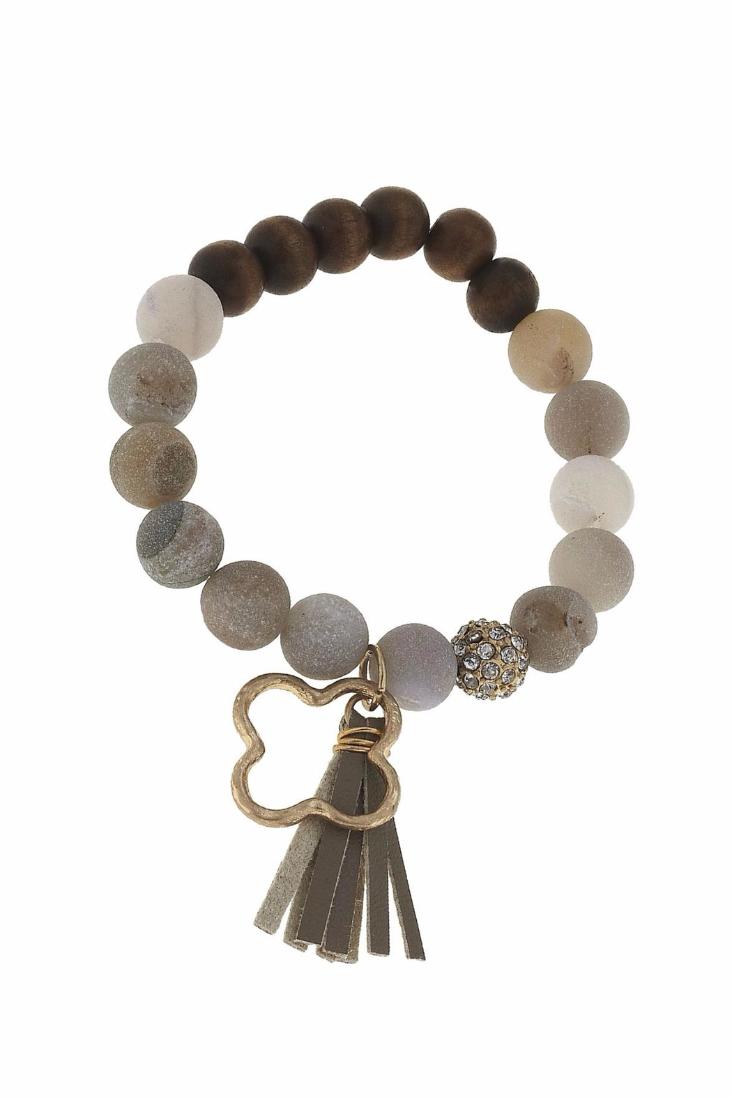 Canvas Tassel Gemstone Bracelet - Front Full Image